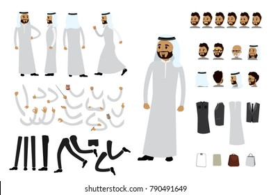 Male arab businessman constructor,human template avatars or characters,isolated on white background,flat vector illustration