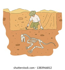 Male archaeologist with pickaxe digs out dinosaur skeleton sketch style, vector illustration isolated on white background. Archeology or paleontology excavation of ancient animal bones