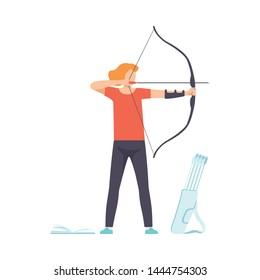 Male Archer Standing with Bow and Aiming to Target, Hobby, Active Sport Lifestyle Vector Illustration