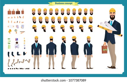 Male architect in business suit and protective helmet. Character creation set. Full length, different views, emotions and gestures. Build your own design. Cartoon flat-style infographic illustration