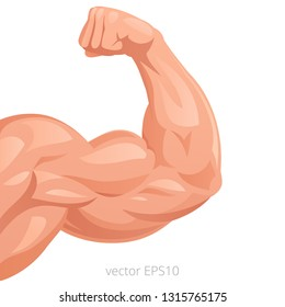 Male arm with a big strong bicep. Vector symbol of a healthy power. Tense flex muscles of sportsman. Light brown and coral colors of a skin. Hand of the sportsman. Detailed clipart. White background