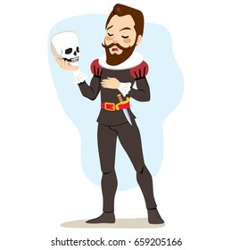 Male artist actor playing Hamlet holding skull