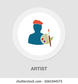 male artist icon, artistic designer isolated - color art icon