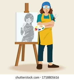 Male Artist standing at the canvas. Young painter with palette. Creative profession. Vector illustration in flat style.