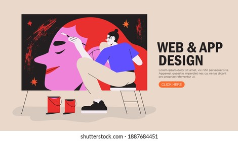 Male artist working with oil paint drawing woman portrait with a brush on a big canvas. Creative idea for drawing or art classes, lessons or online courses. Vector graphic for ui or website project.