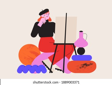 Male artist working with oil paint drawing still life with a brush on a white canvas. Creative idea for drawing or art classes, lessons or online courses. Vector graphic for ui or website project.