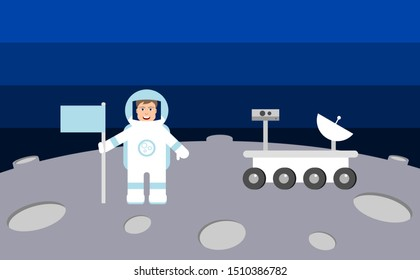 Male astronaut on the moon or another planet or asteroid. Smiling man in space suit standing beside rover. Achievement, thriving, success, reaching new heights, concept. Vector illustration,flat style