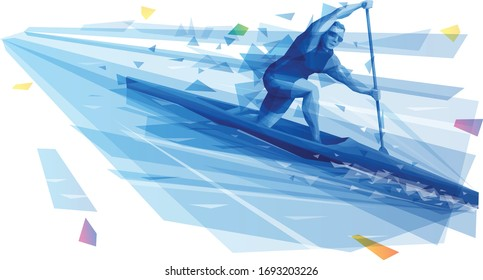 Male athlete canoening at the open water