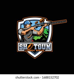 male athlete clay pigeon shooting sport vector badge shield logo template