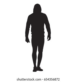 Male athlete goes in a hooded sweatshirt. Sprinter keeps the body warm. Vector silhouette