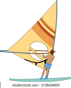 A male athlete is interested in windsurfing