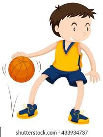 Male athlete playing basketball illustration