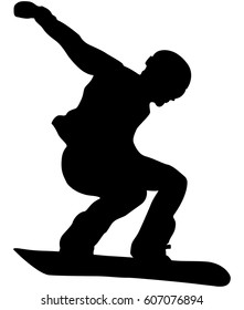 male athlete snowboarder jump black silhouette