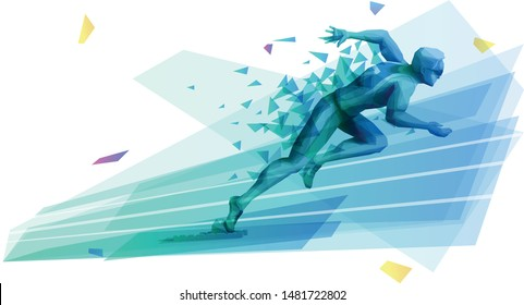 Male athlete starting sprint race from the starting blocks