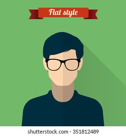 Male avatar or pictogram for social networks. Modern flat colorful style