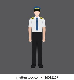 A male avatar of professions people. Front view. Full body. Flat style icons. Occupation avatar. Male pilot icon. Vector illustration