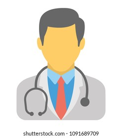 A male avatar wearing stethoscope represented to be a medical practitioner