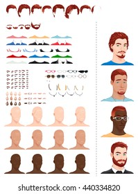 Male avatars, in different ages, head shapes, hairstyles, eyes and accessories.