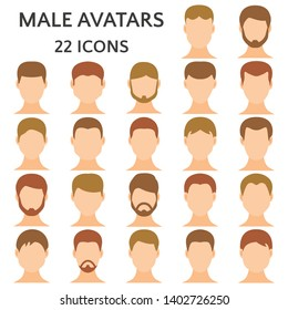 Male avatars icon set. Man without emotions on the face, guy with different hairstyles and hair color vector illustration