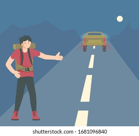 Male backpacker stands with thumb up and catches a passing car on the night road. Hitchhiking travel concept. Flat Art Vector Illustration