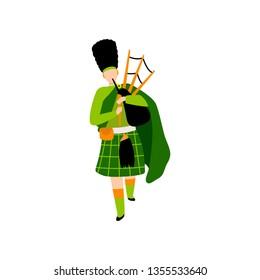 Male Bagpiper in Green Irish Costume Playing Bagpipe, Man Celebrating Saint Patrick Day Vector Illustration