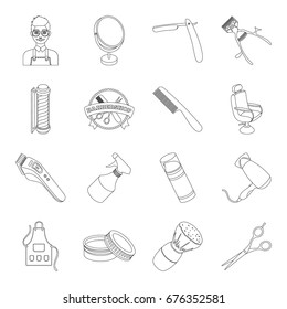 Male barber, symbol, clipper and other equipment for hairdressing.Barbershop set collection icons in line style vector symbol stock illustration web.