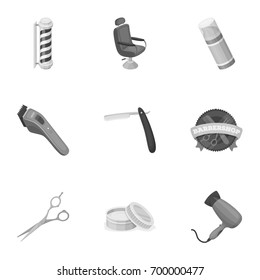 Male barber, symbol, clipper and other equipment for hairdressing.Barbershop set collection icons in monochrome style vector symbol stock illustration web.