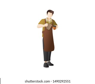 Male barista making coffee. A barista is dropping coffee from the cafe. Barista boy cartoon character, Manual brew drip coffee. Barista Pouring Coffee Illustration