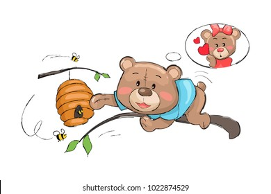 Male bear going to take honey from hive full of bees as a present for his lovely teddy-bear girlfriend, female worried about boyfriend, vector isolated