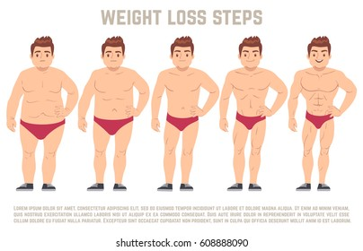 Male before and after diet, man body from fat to thin. weight loss steps vector illustration. Body male health and slim, adult man with fat body