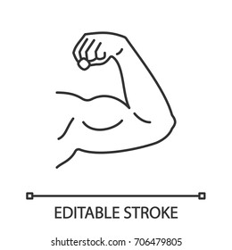 Male bicep linear icon. Fitness, bodybuilding. Thin line illustration. Contour symbol. Vector isolated outline drawing. Editable stroke