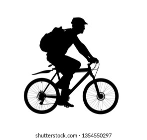 Male bicyclist riding a bicycle vector silhouette isolated on white background. Sportsman in race illustration.