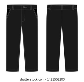 Male black pants. KIds casual trousers design template. Front and back view. Technical sketch of pants. Vector illustration