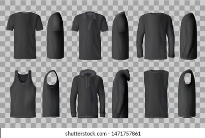Male black shirt vector templates, 3d mockup of blank t-shirts from side and front views. Polo, sweatshirt and sleeveless tank top, hoodie and hooded long sleeve shirt. Male fashion, sport wear design