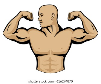 Male body builder vector graphic illustration, flexing arm muscles, head turned to right. Very clean lines, simple yet professional look.