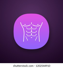 Male body contouring surgery app icon. Coolsculpting. Male tummy tuck. Men's abdominoplasty. Plastic surgery for men. UI/UX user interface. Web or mobile application. Vector isolated illustration
