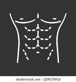 Male body contouring surgery chalk icon. Coolsculpting. Male tummy tuck. Men's abdominoplasty. Plastic surgery for men. Isolated vector chalkboard illustration