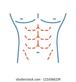 Male body contouring surgery color icon. Coolsculpting. Male tummy tuck. Men's abdominoplasty. Plastic surgery for men. Isolated vector illustration