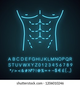 Male body contouring surgery neon light icon. Coolsculpting. Male tummy tuck. Men's abdominoplasty. Plastic surgery for men. Glowing sign with alphabet, numbers. Vector isolated illustration