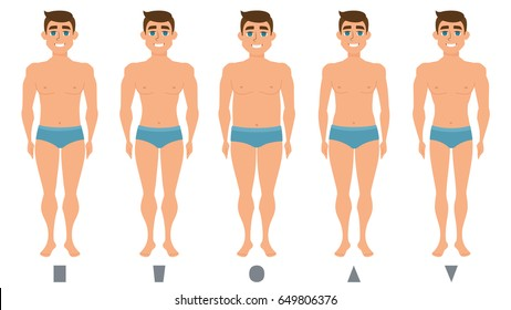 Male body figures. The man standing. Men shapes, five types triangle, inverted triangle, rectangle, rounded. Vector illustration
