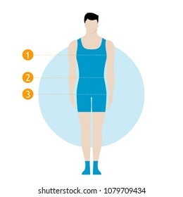 Male body measurement chart. Figure of the guy, model in underwear, swimwear. 