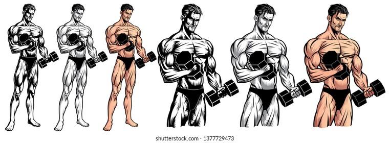 Male Bodybuilder Full Body with dumbbells_EPS 10 Vector