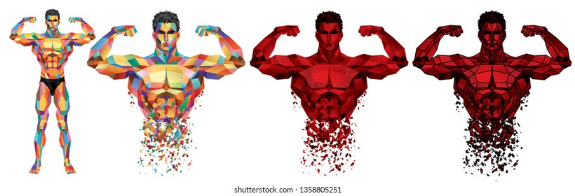 Male Bodybuilder Full Body_Colorful Polygonal Graphic_EPS 10 Vector