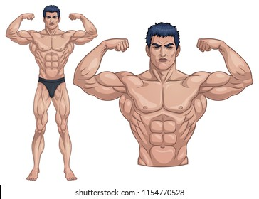 Male Bodybuilder Full Body_Vector Illustration EPS 10