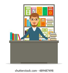 Male bookseller at the counter against shelves with books in flat style. Vector illustration of smiling man selling books at the bookstore or librarian at the library.