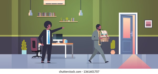 male boss dismisses pointing finger at door fired man employee with paper documents box dismissal unemployment jobless concept flat modern office interior horizontal