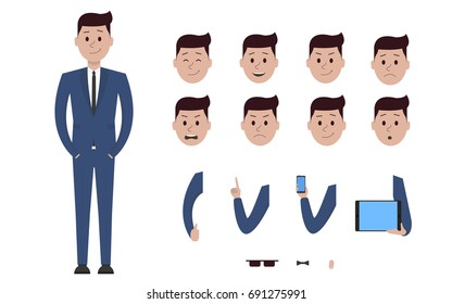 Male boy man character in business suit creation constructor set. Different views, emotions, gestures, isolated against white background. Build design. Cartoon flat-style infographic illustration