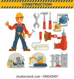 Male builder and set of special tools on white. Vector colorful poster in flat design of instruments and equipments for construction, concrete mixer and bulldozer vehicle, unfinished building.