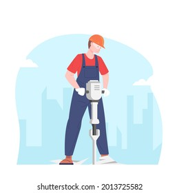 Male builder working with jackhammer. Worker electric jackhammer. Concept road works and repair, vector illustration.