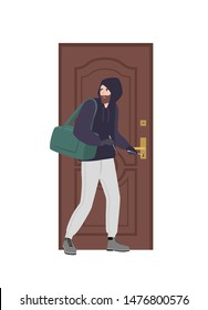 Male burglar wearing hoodie trying to unlock door with lock pick and break in house. Theft, burglary or housebreaking. Thief, burglar, criminal or outlaw. Flat cartoon colorful vector illustration.